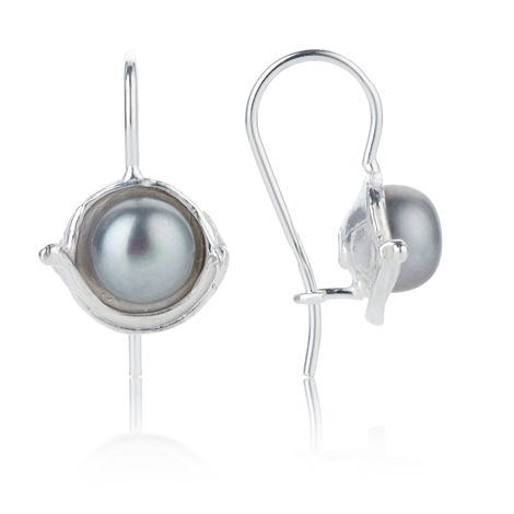 Silver Drop Earrings with Grey Pearls | Image 1