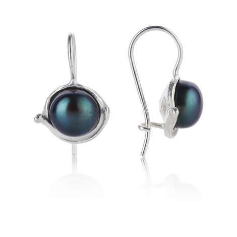Silver Drop Earrings with Peacock Pearls | Image 1