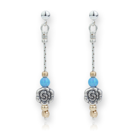 Elegant Flower and Opal Silver and Gold Drop Earrings | Image 1
