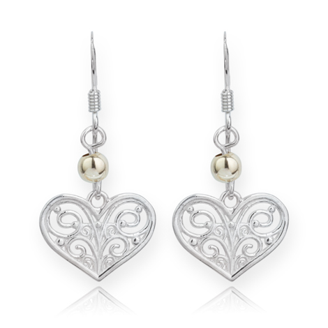 Silver and Gold Filigree Heart Drop Earrings | Image 1