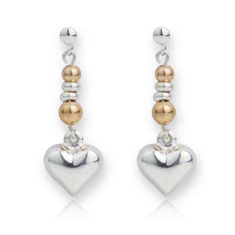 Silver and Gold Heart Drop Earrings | Image 1