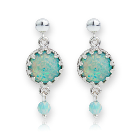 Elegant Green Opal Drop Silver Earrings | Image 1