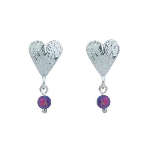 Sterling Silver Etched Heart Opal Drop Earrings | Image 1