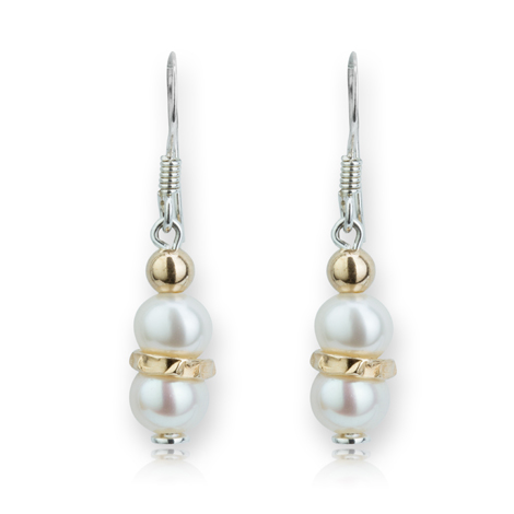 Elegant Gold and Silver Pearl Drop Earrings | Image 1