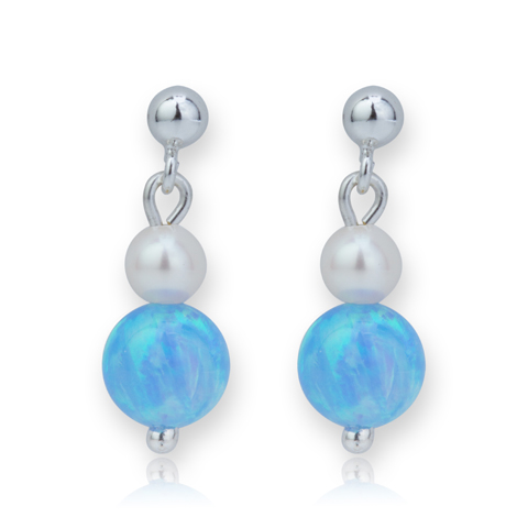 Pearl and Blue Opal Drop Earrings | Image 1