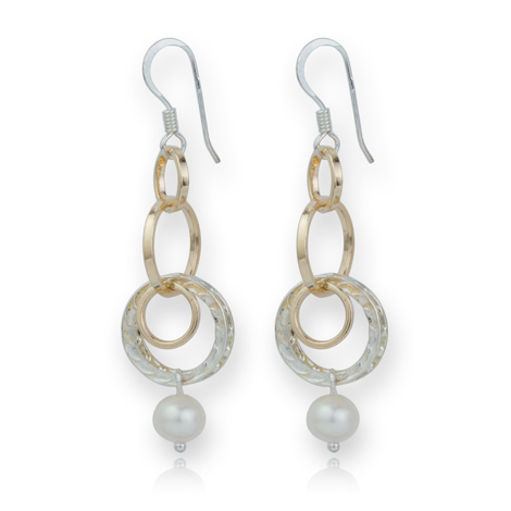 Gold and Silver Multiring Pearl Drop Earrings | Image 1