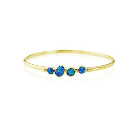 9ct Gold Oval Bangle set with Blue Opals  | Image 1