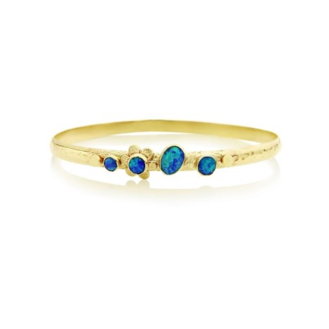 9ct Gold Flower Oval Bangle set with Blue Opals  | Image 1