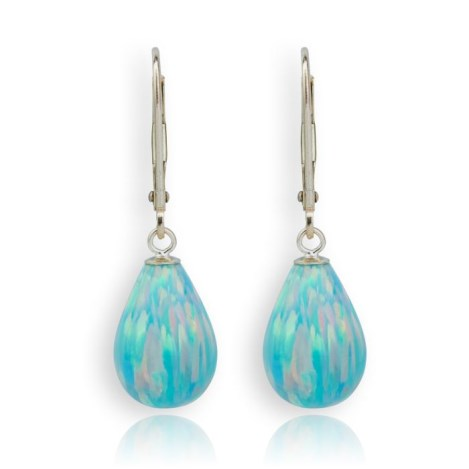 9ct Gold Large Green Opal Teardrop Earrings | Image 1