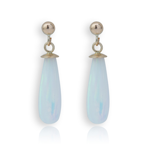 9ct Gold Striking White Opal Teardrop Earrings | Image 1