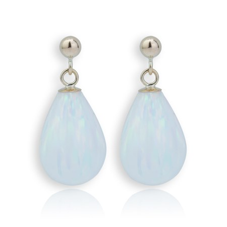 9ct Gold Large White Opal Teardrop Earrings | Image 1