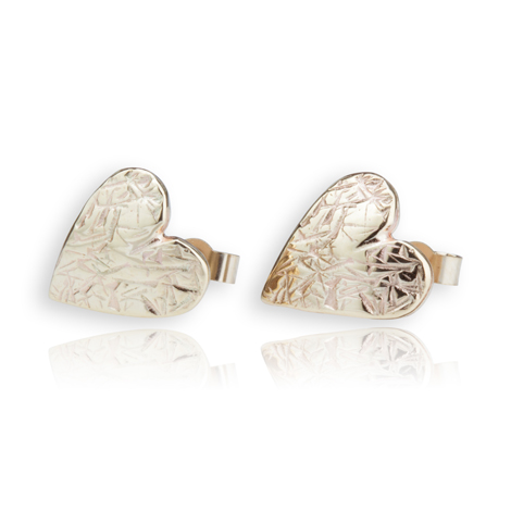 9ct Gold Textured Heart Stud Earrings | Image 1