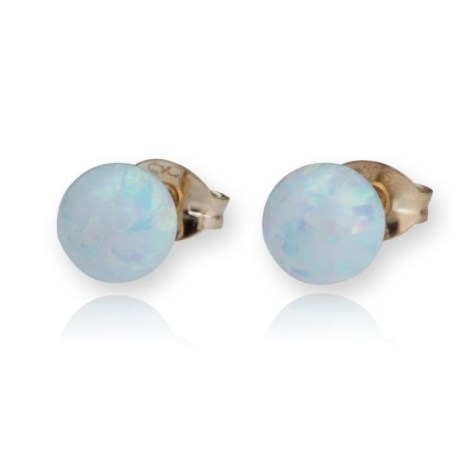 9ct Gold White Opal Stud Earrings | Image 1