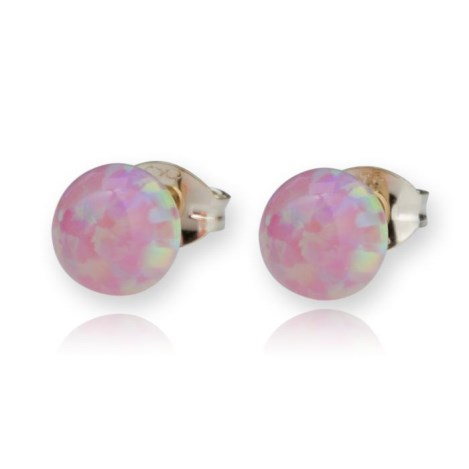 9ct Gold Pink Opal Stud Earrings | Image 1
