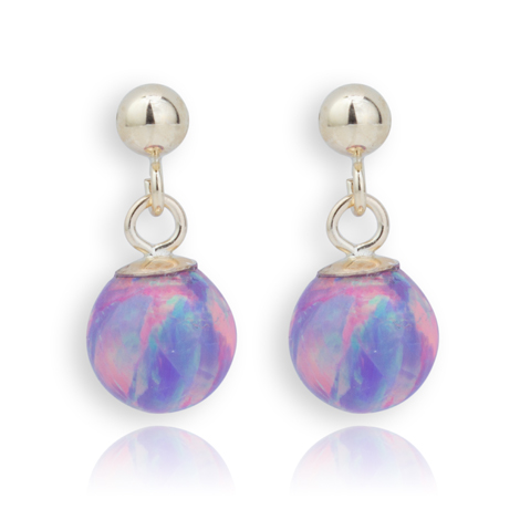 9ct Gold Purple Opal Drop Earrings | Image 1