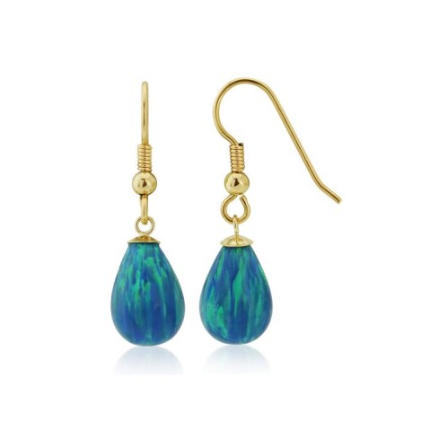 9ct Gold Large Aqua  Opal Teardrop Earrings | Image 1