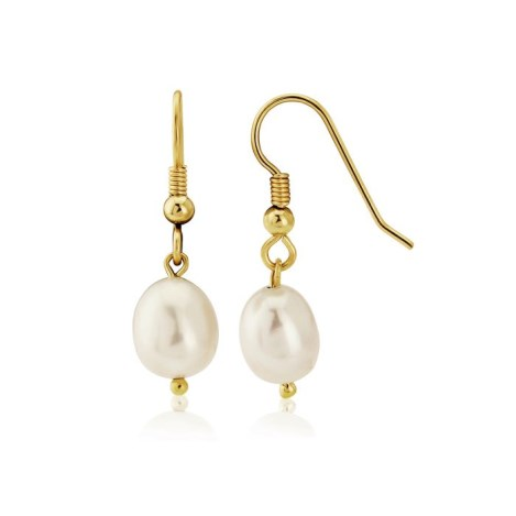 9ct Gold White Pearl drop Earrings | Image 1