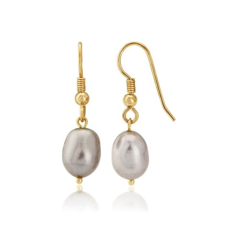 9ct Gold Grey Pearl drop Earrings | Image 1