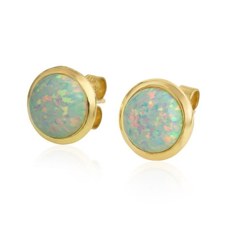 8mm White Opal Stud Earrings | Image 1