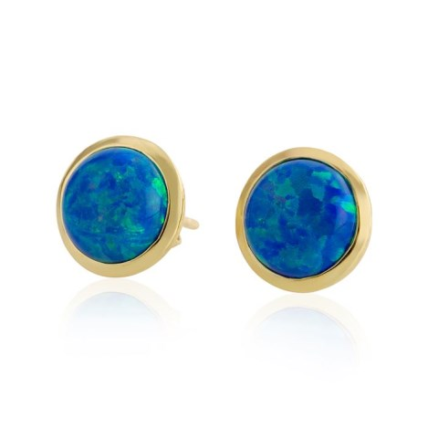 8mm Dark  Blue Opal Stud Earrings | Image 1