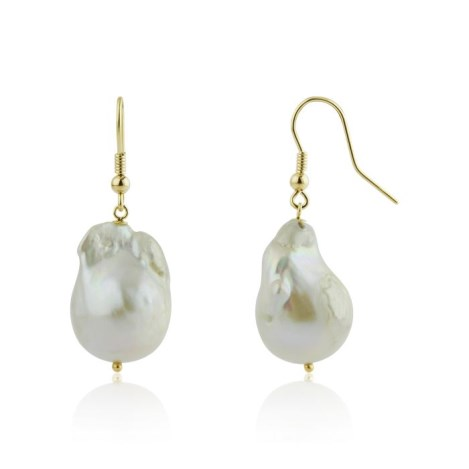 Baroque Pearl 9ct Gold Drop Earrings | Image 1