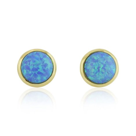 Gold Blue Opal Stud Earrings | Image 1