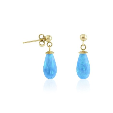 9ct gold blue opal teardrop earrings | Image 1