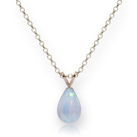 Delicate 9ct Gold White Teardrop Opal Pendant | Image 1