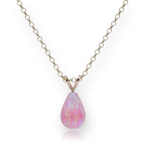Delicate 9ct Gold Pink Teardrop Opal Pendant | Image 1