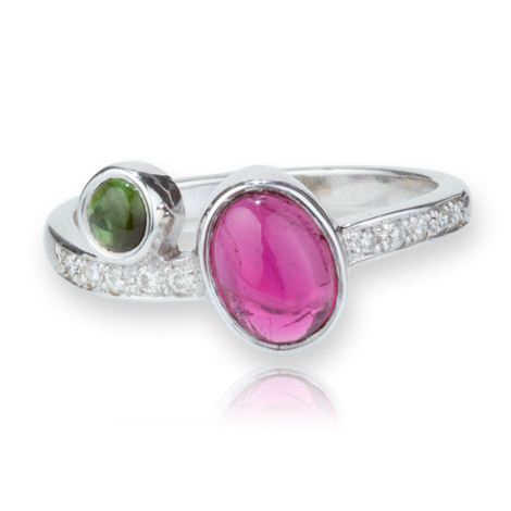 9ct White Gold Green and Pink Tourmaline Ring with Diamonds WAS £1200.00 NOW £750.00 | Image 1