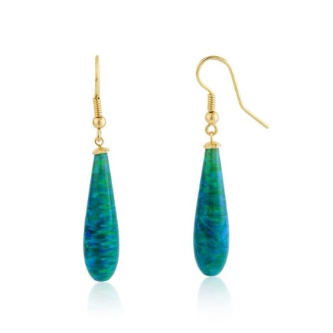9ct Gold Forest Green Teardrop Opal Earrings | Image 1