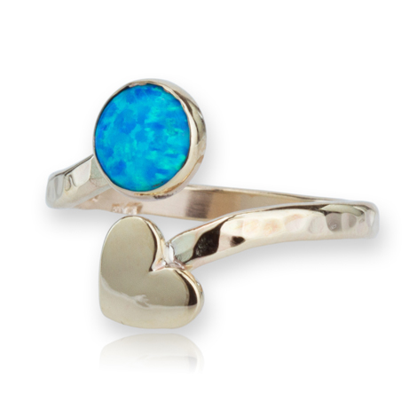 9ct Gold Adjustable Heart and Opal Ring | Image 1