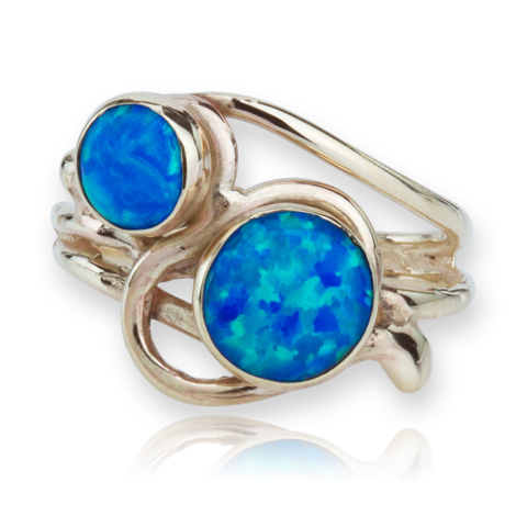 9ct Gold Blue Opal Ring | Image 1