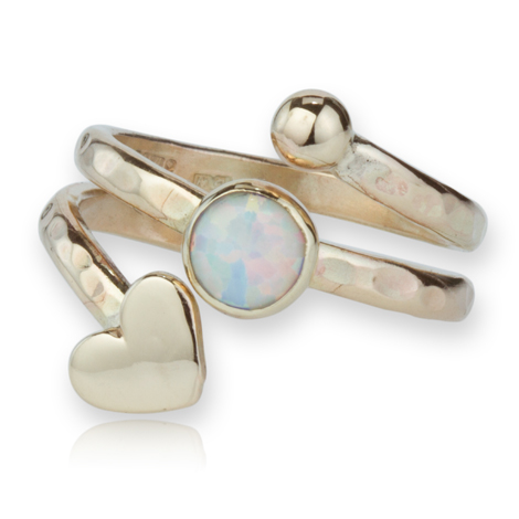 9ct Gold Spiral Heart and Opal Ring | Image 1