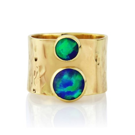 Yellow Gold hammered wide ring with two Opals | Image 1