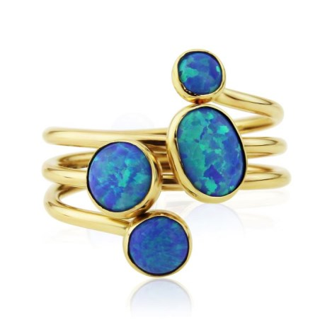 Gold spiral mixed blue opal ring  | Image 1
