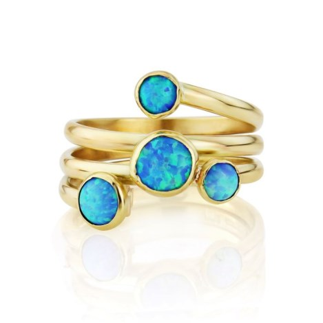 Gold spiral ring with light blue opals | Image 1