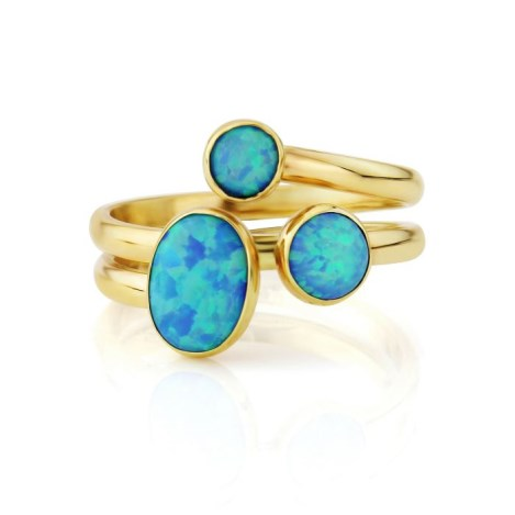 Yellow gold spiral ring with blue opals | Image 1