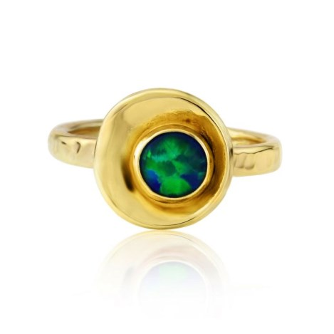 Gold hammered small oyster with blue/green opal ring | Image 1