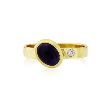 Hammered Gold Diamond and Iolite Ring | Image 1