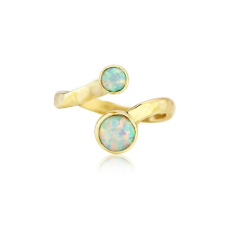 Hammered Gold White Opal Adjustable Ring | Image 1