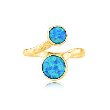 Hammered Gold Blue Opal Adjustable Ring | Image 1