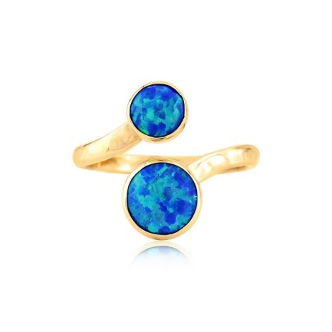Hammered Gold Dark Blue Opal Adjustable Ring | Image 1