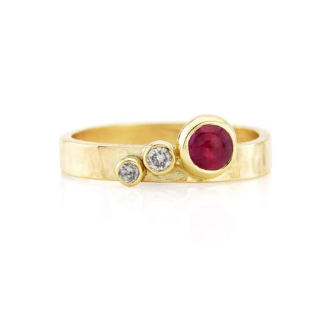 Handmade Ruby and Diamond Gold Ring | Image 1