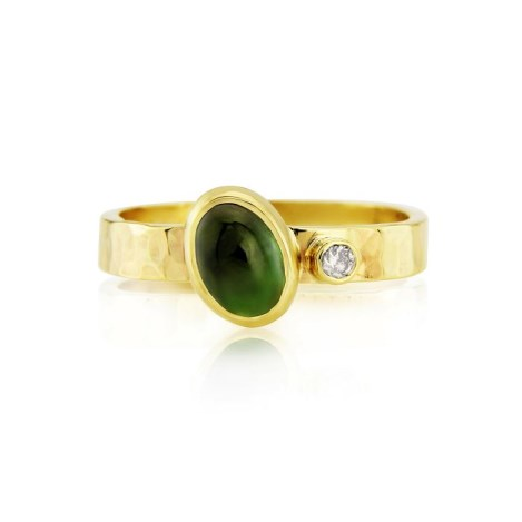 Hammered Gold Tourmaline and Diamond Ring | Image 1