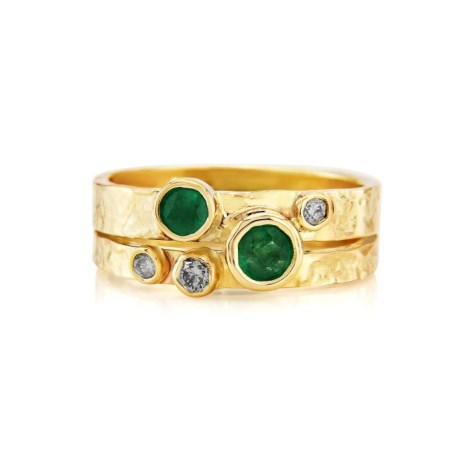 Handmade Emerald and Diamond Gold Ring | Image 1