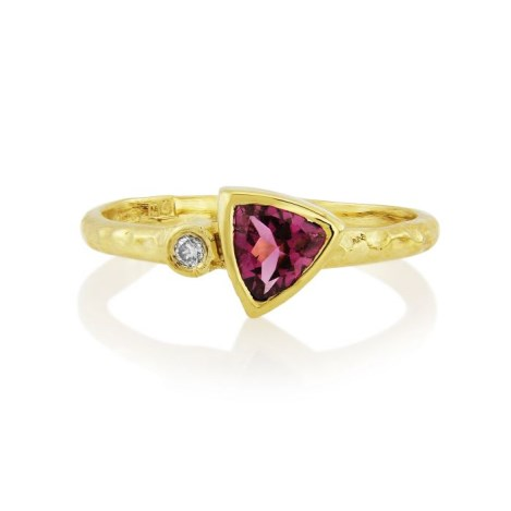 18ct Gold Diamond and Pink Tourmaline Hammered Ring  | Image 1