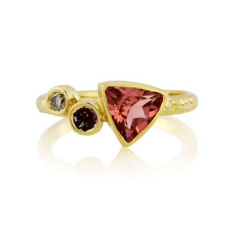 18ct Gold Champagne Diamond Pink Tourmaline Hammered Ring  | Image 1