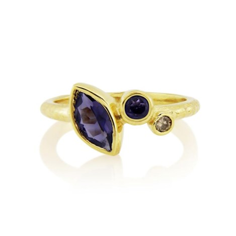 18ct Gold Champagne Diamond and Iolite Hammered Ring  | Image 1