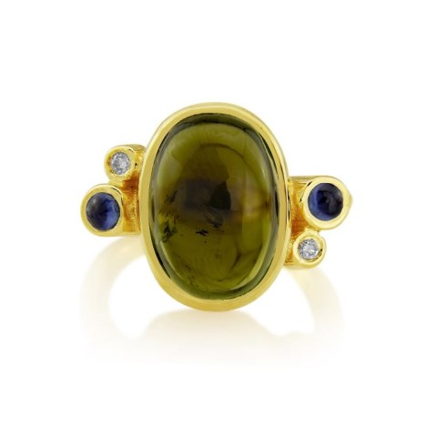 18ct Gold, Champagne Diamond, Sapphire and Tourmaline ring  | Image 1
